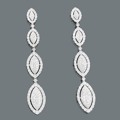 Diamond Dangle Earrings 5.88ct 18K Gold Celebrity Jewelry