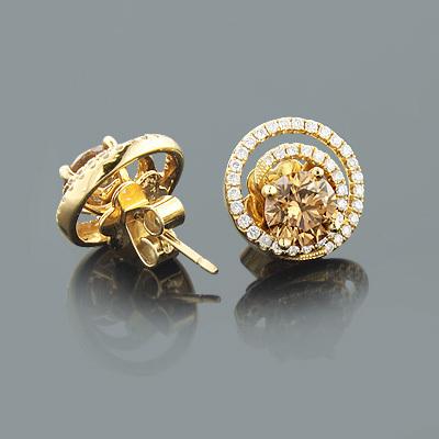 Diamond Earring Jackets with Large Cognac Diamonds 2.75ct 18K Gold