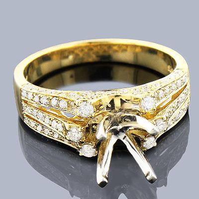 Diamond Engagement Ring Mounting 0.61ct 14K Gold