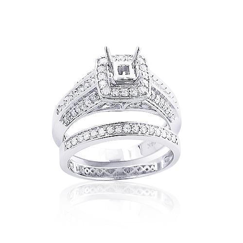 Diamond Engagement Ring Mounting Set 0.83ct 14K Gold