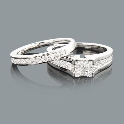 Diamond Engagement Ring Set 1.07ct 14K Princess Cut Round