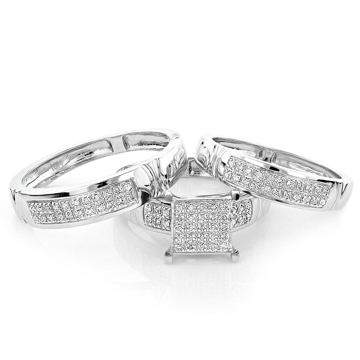 Diamond Engagement Wedding Trio Ring Set 0.33ct 10K Gold