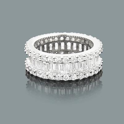 Diamond Eternity Rings: 14K Round Baguette Diamond Band 5.60ct