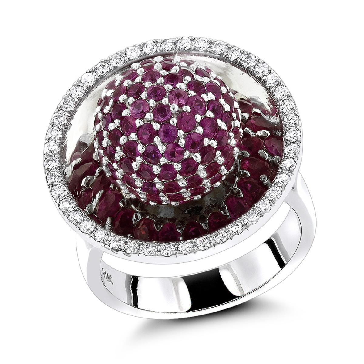 Diamond Fashion Rings Pink Sapphire Cocktail Ring 3.25