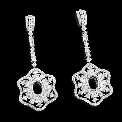 Diamond Flower Semi Mount Earrings 6.02ct 18K Gold