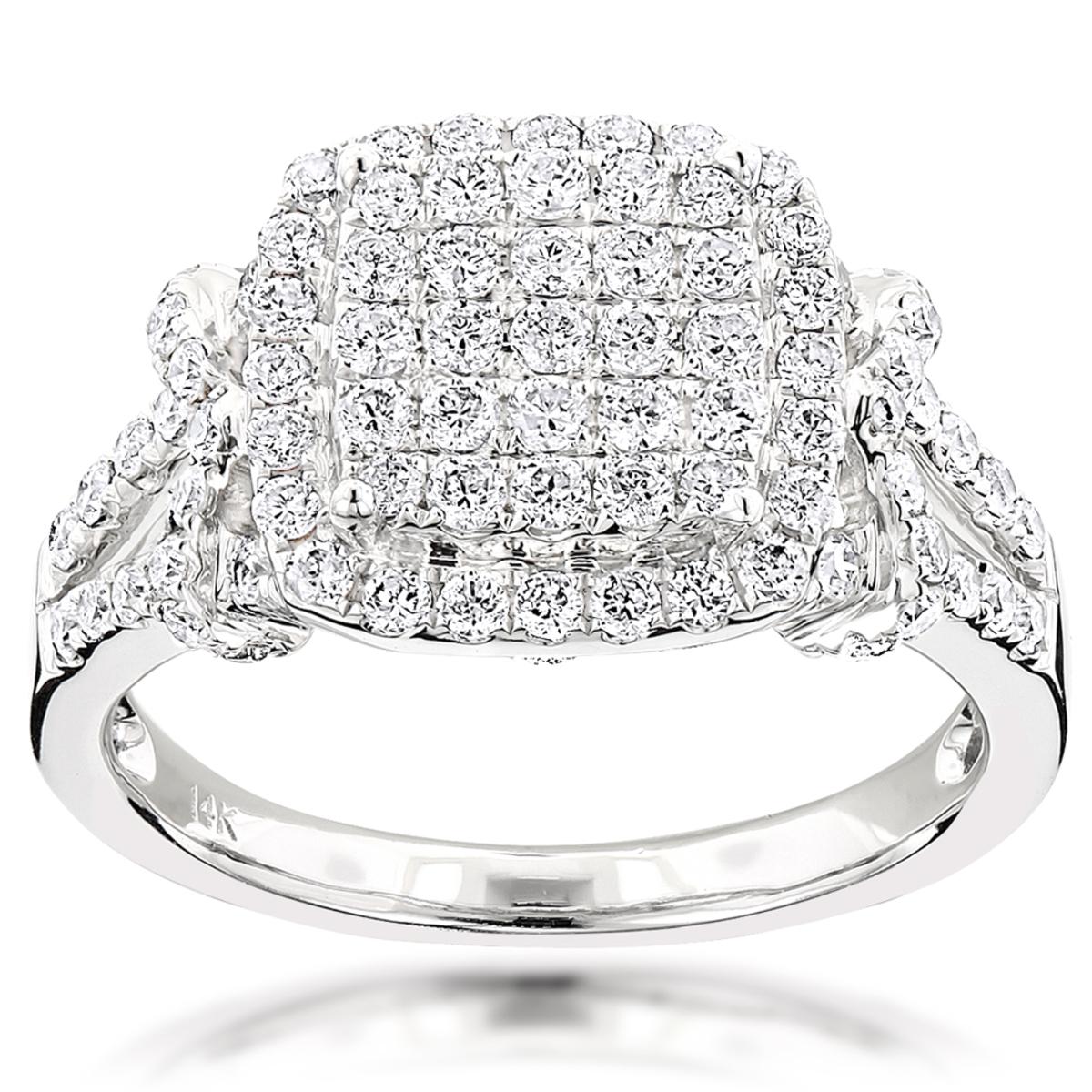 Diamond Halo Engagement Ring 1.5ct 14K Gold
