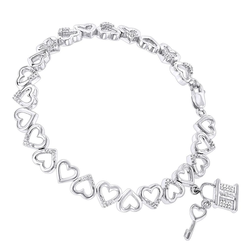 Diamond Heart Bracelet 0.15ct Sterling Silver