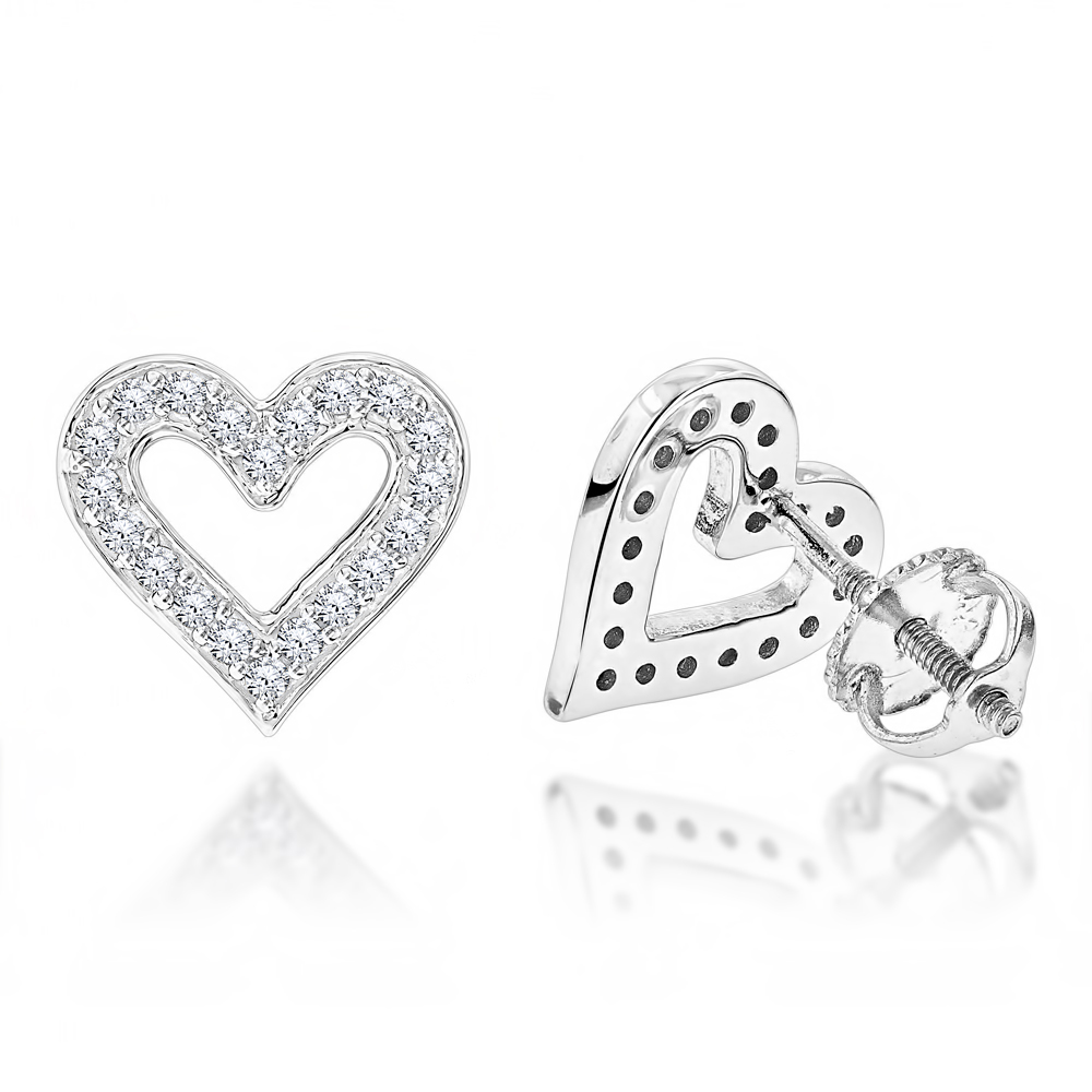 Womens Diamond Heart Earrings 0.29ct 14K Gold