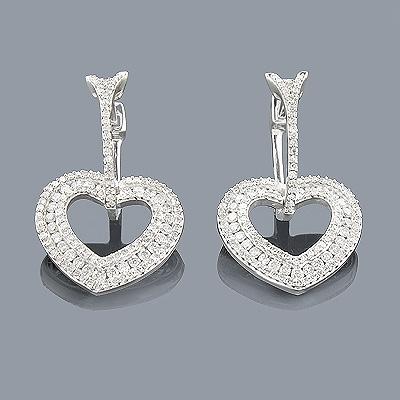 Diamond Heart Earrings 14K 1.19ct