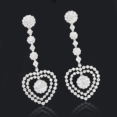 Diamond Heart Earrings 7.93ct 18K Designer Jewelry