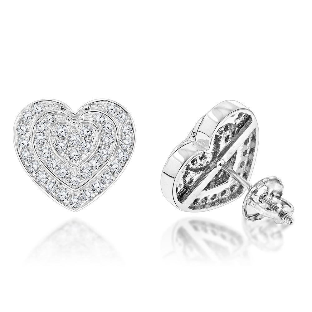 Diamond Heart Jewelry: 14K Gold Earrings 0.74ct