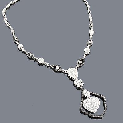 Diamond Heart Necklace - White Black 14K 6.02ct