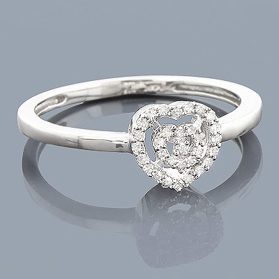 Real Diamond Heart Ring 0.11ct Sterling Silver