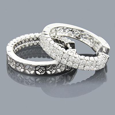 Diamond Hoop Earrings 1 Inch 14K 2.66ct