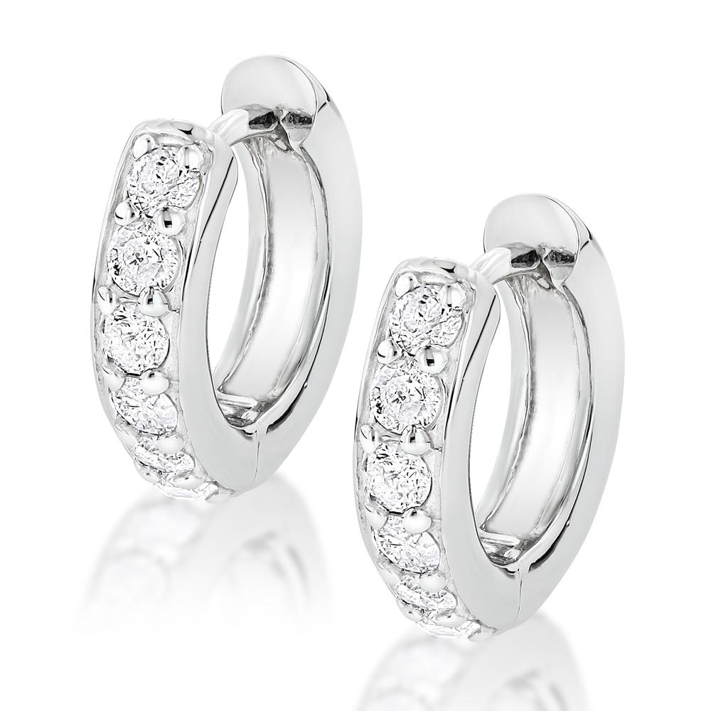 14k Gold Small Diamond Hoop Earrings Huggies 1/2ct