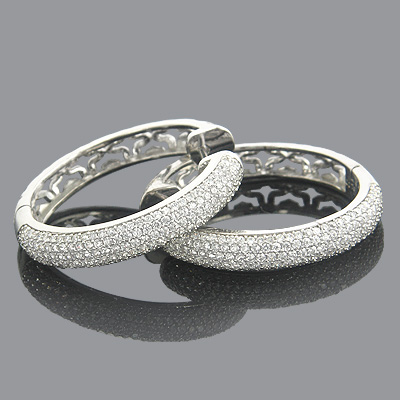 Diamond Hoop Earrings 14K Ladies Diamond Earrings 1.23