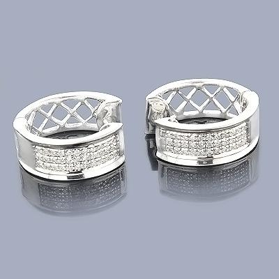 Diamond Hoop Huggie Earrings in Sterling Silver .30ct