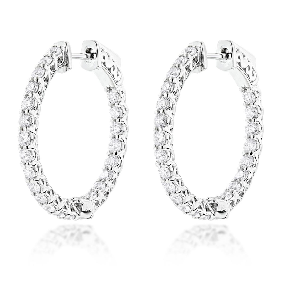 Diamond Hoops 14K Diamond Hoop Earrings Inside Out 1.87