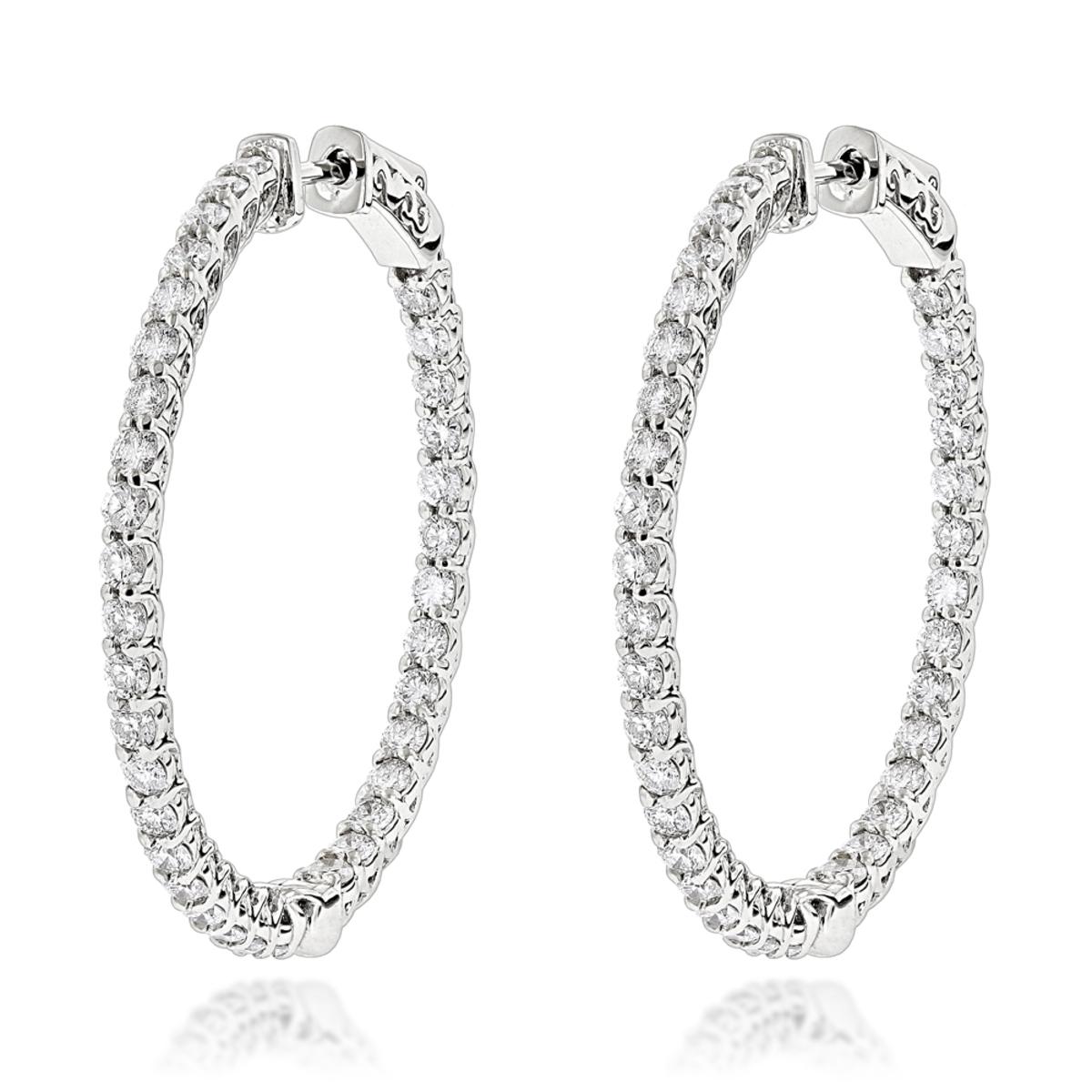 Diamond Hoops 14K Gold Diamond Hoop Earrings Inside Out 3.5ct