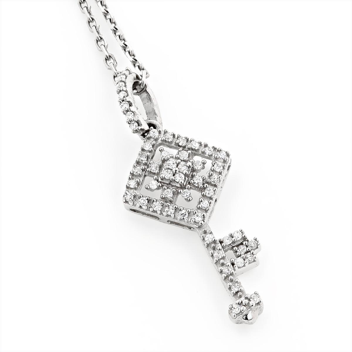 Small Diamond Key Necklace 0.18ct 14k Gold