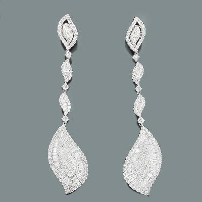 Diamond Leaf Drop Earrings 7.07ct 18K Gold Jewelry