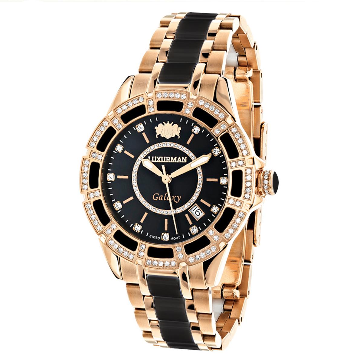 Diamond Mens & Womens Black Ceramic Watches Rose Gold Pld Luxurman Galaxy