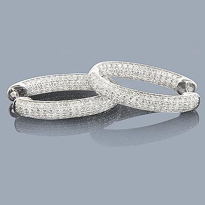 Diamond Oval Hoop Earrings 2.18ct 14K