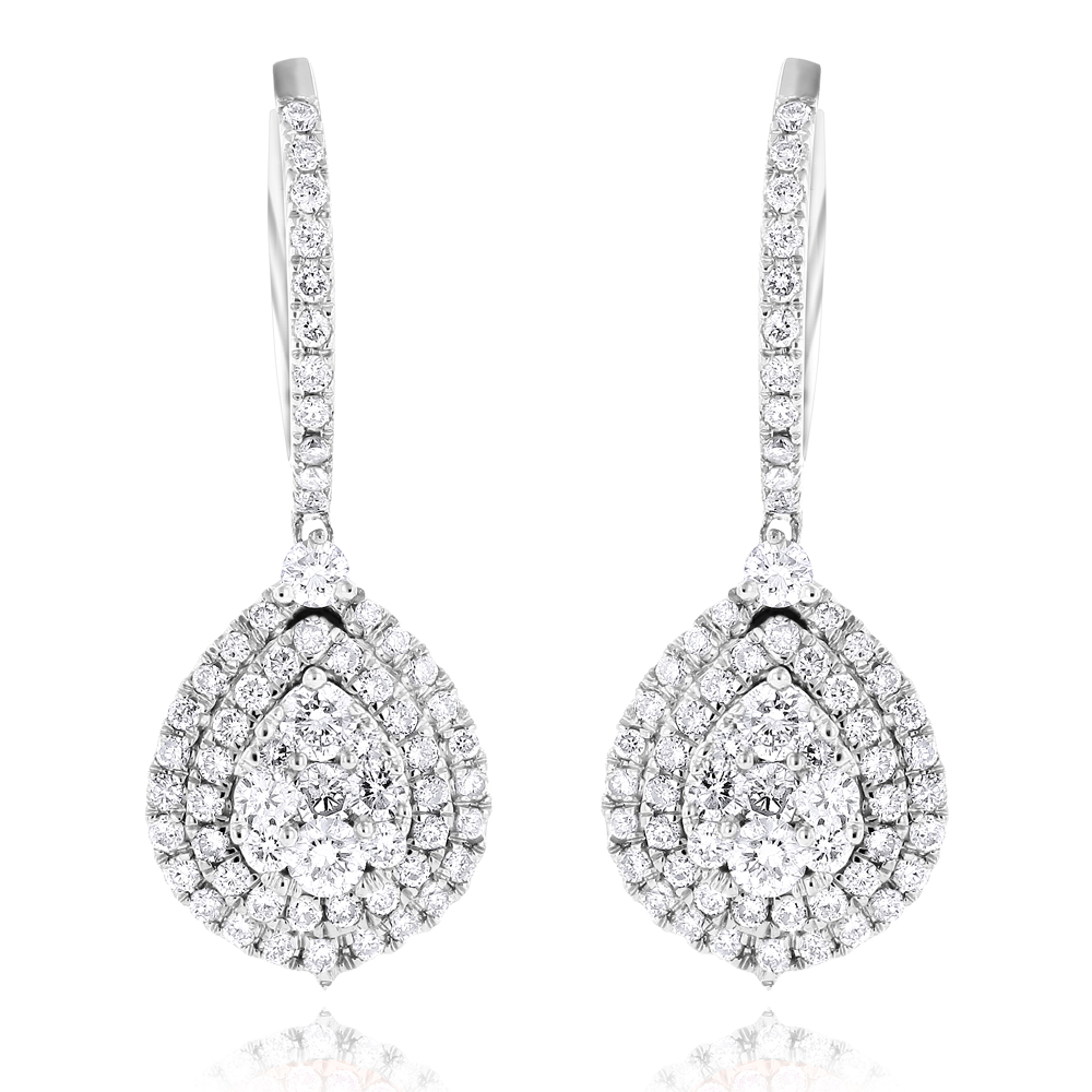 Diamond Pear-Shaped Drop Earrings in 14K Yellow Rose White Gold 1.5ct