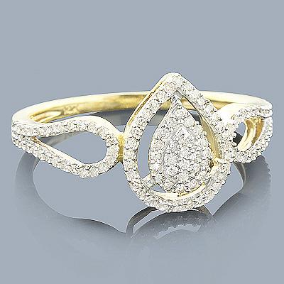 Diamond Pear Shaped Ring 14K 0.28ct