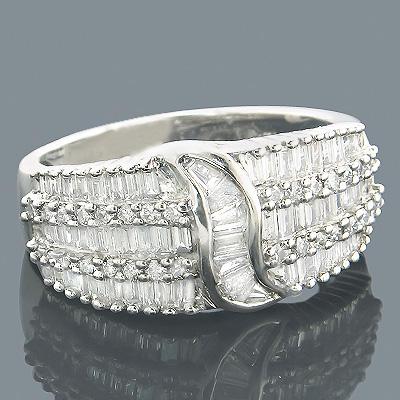 Diamond Rings 14K Round Baguette Diamond Band 1.22ct