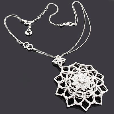 Diamond Snowflake Necklace 4.47ct 14K