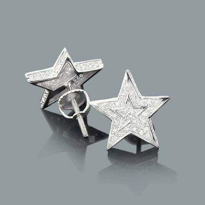 Diamond Star Earrings 0.11ct Sterling Silver