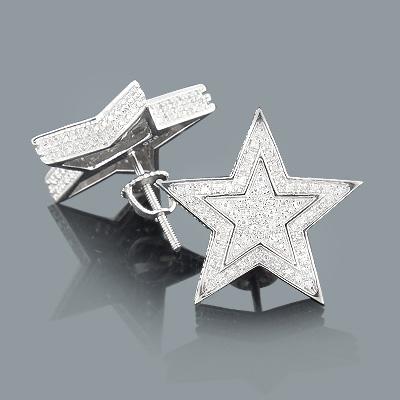 Diamond Star Earrings 0.20ct Sterling Silver
