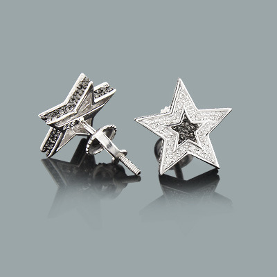 Diamond Star Earrings in Sterling Silver 0.21ct Black and White