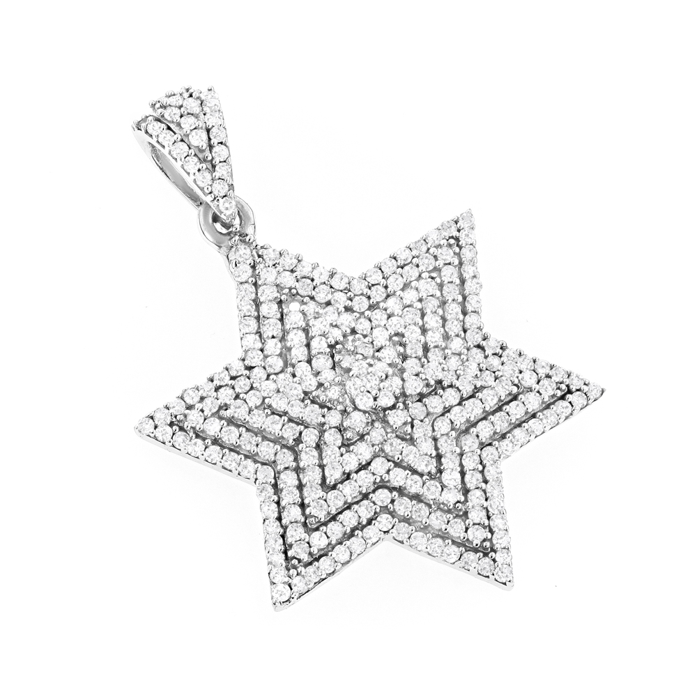 Diamond Star of David Necklace Solid 14K Gold Pendant 0.91ct