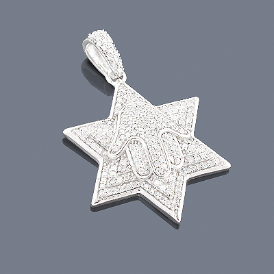 Diamond Star of David Necklace Hamsa 14K 0.67ct