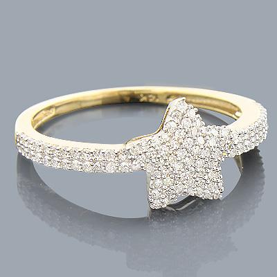Diamond Star Ring 14K 0.34ct