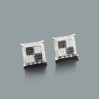 Diamond Stud Earrings 0.16ct Black and White