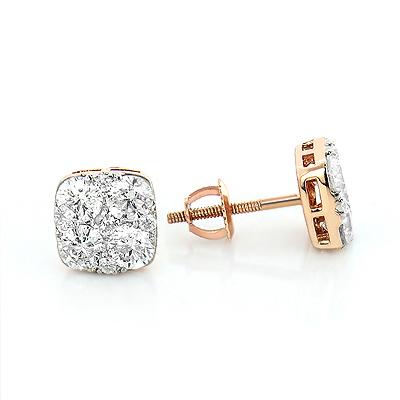 Diamond Studs 14K Cluster Diamond Stud Earrings 1.7ct