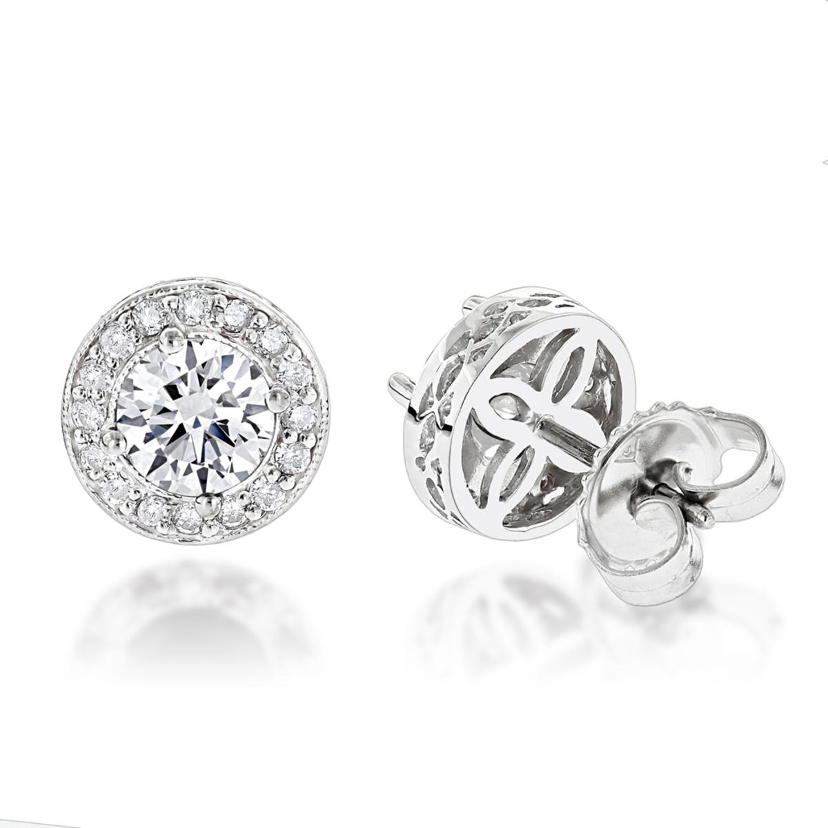 Diamond Studs 14K Cluster Diamond Stud Earrings .82ct