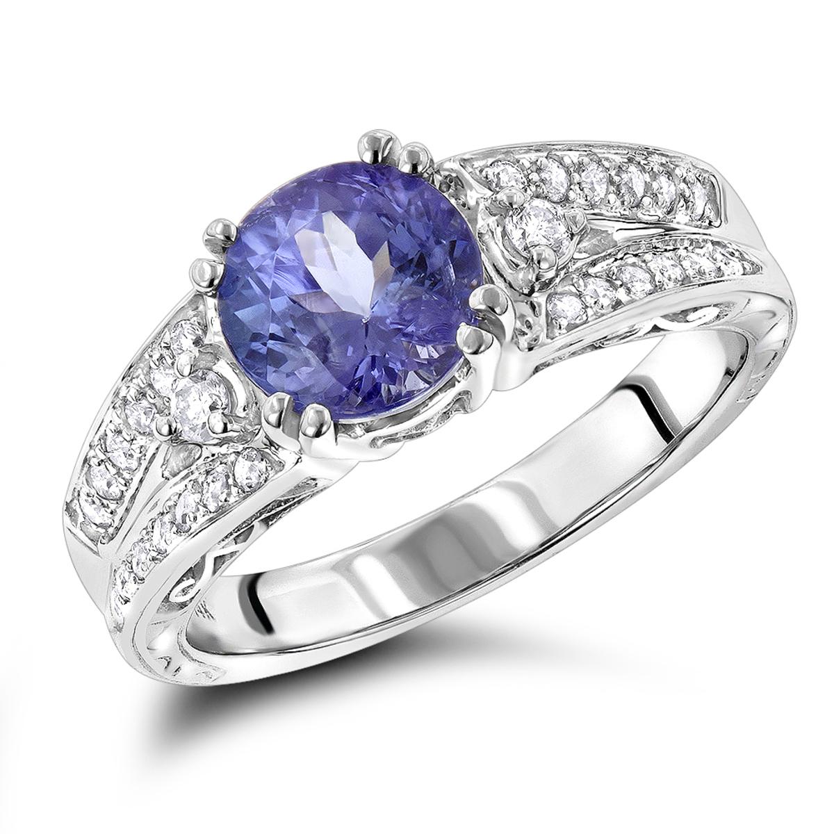 Diamond Tanzanite Engagement Ring for Women 14K Gold 0.3 ctd 1.5ctt