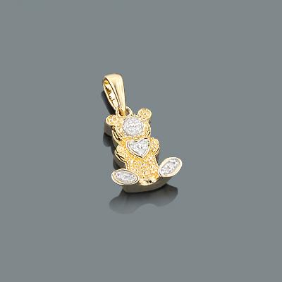 Diamond Teddy Bear Pendant 0.05ct Gold Plated Silver