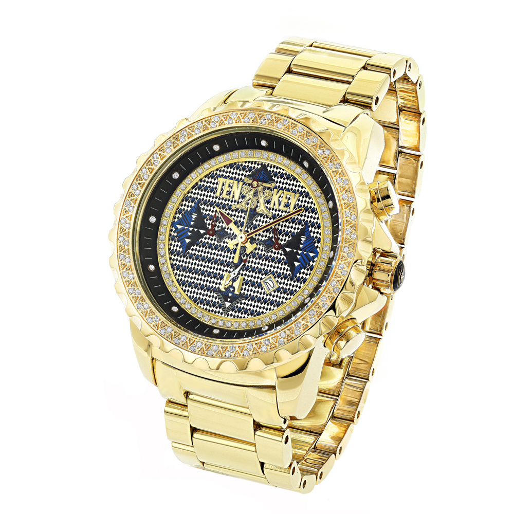 Mens Diamond Tenakey Watch ACE Stainless gold tone 0.75ct