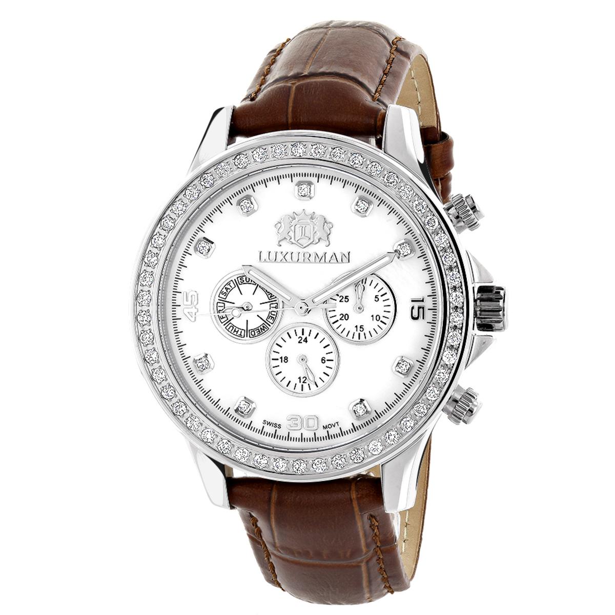 Diamond Watches For Men: Luxurman Liberty Diamond Bezel Watch White MOP 2ct