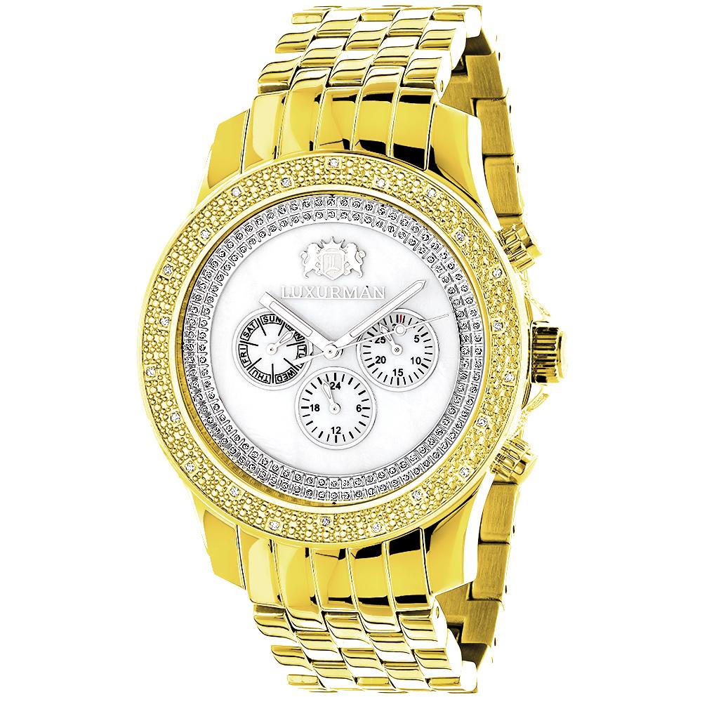 Diamond Watches for Men: Luxurman Mens Diamond Watch Yellow Gold Pltd 0.25
