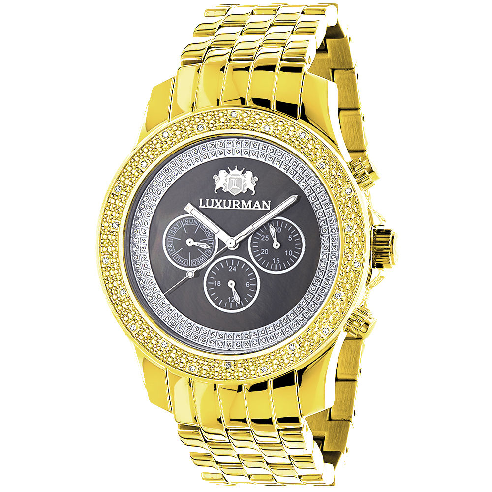 Diamond Watches for Men: Luxurman Yellow Gold Plated Watch 0.25ct