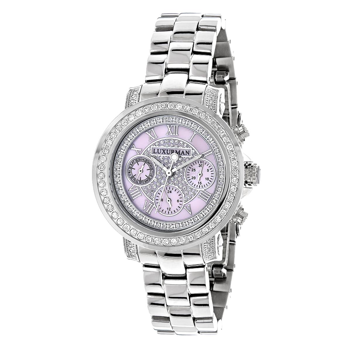 Diamond Watches For Women 2ct Bezel Pink MOP Luxurman Montana