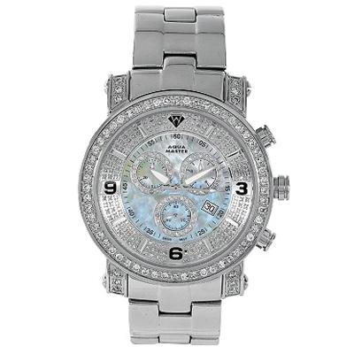 Diamond Watches Mens Diamond Aqua Master Watch 3.60ct