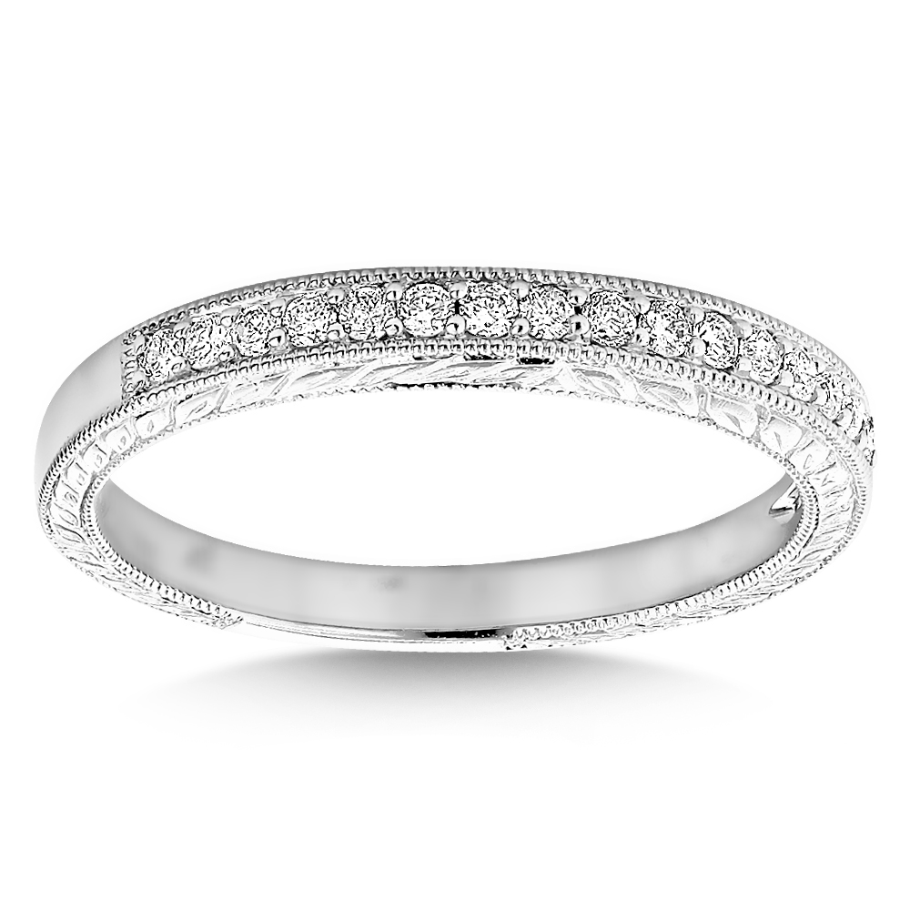 Diamond Wedding Band For Women 1/3ct Thin Antique Style Ring 14k Gold