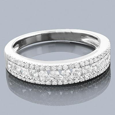 Thin Diamond Wedding Bands: 14K Designer Ring 0.78ct